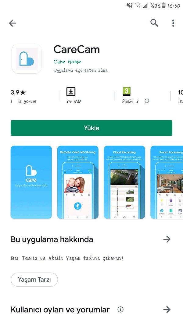 Akıllı Kit Carecam Android Uygulama