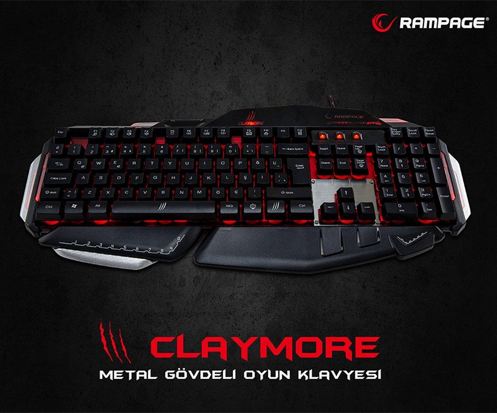 Everest Rampage Claymore Usb Gaming Oyuncu Multimedya Q Klavyesi