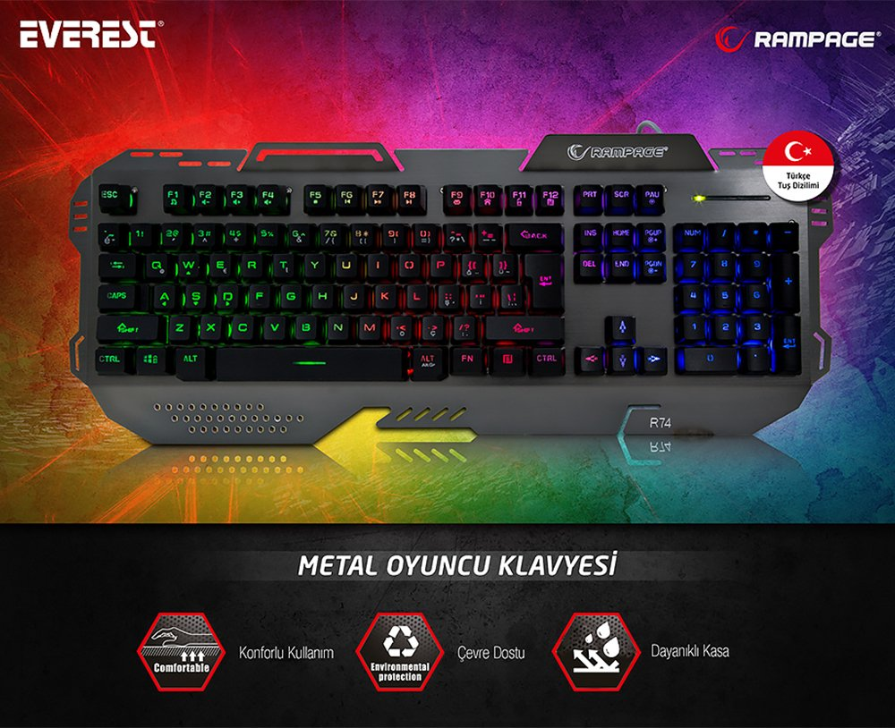 Everest Rampage KB-R74 Gökkuşağı Aydınlatmalı Usb Gaming Oyuncu Multimedya Q Klavye