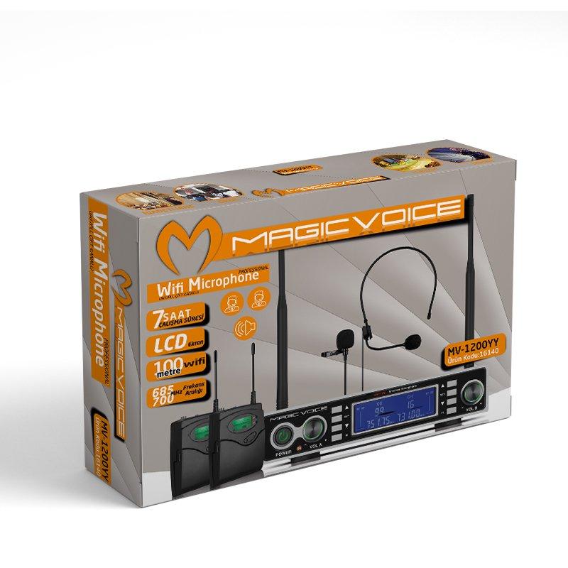 Magicvoice MV-1200YY Kablosuz 2 Yaka Telsiz UHF Mikrofon