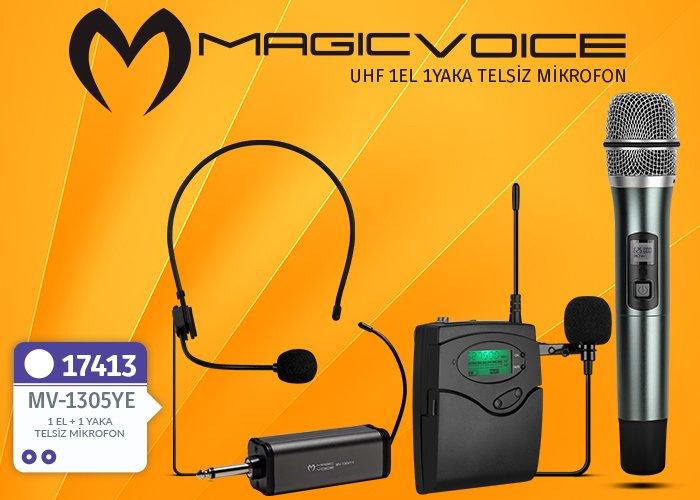 Magicvoice MV-1305YE 2 Yaka 2 Headset Telsiz Mikrofon