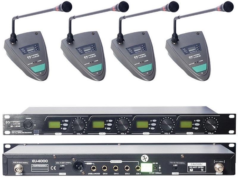 Magicvoice MV-1404K Uhf 4 Kablosuz Kürsü Mikrofonu