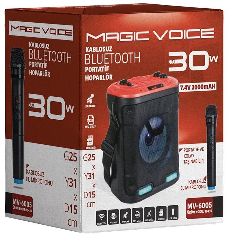Magicvoice MV-6005 VHF El Mikrofonlu USB-SD-BT Iþýklý 30 W Taþýnabilir Anfi
