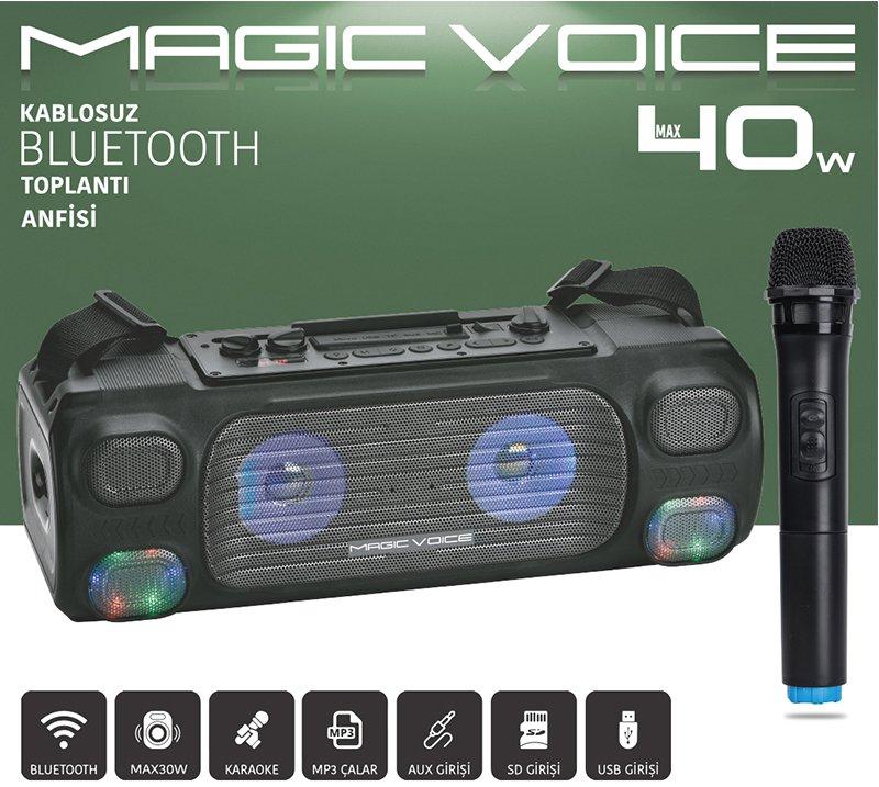 Magicvoice MV-7001 VHF El Mikrofonlu USB-SD-BT Iþýklý 40 W Taþýnabilir Anfi