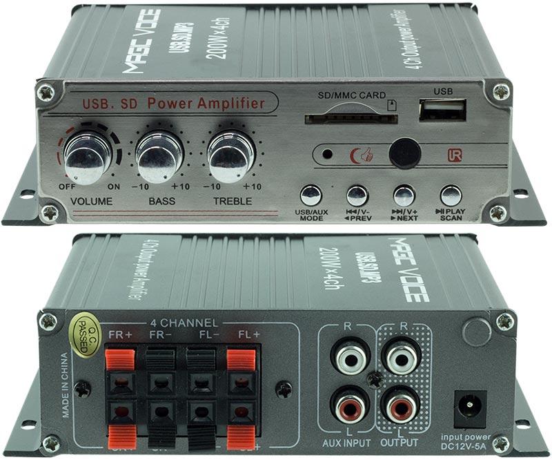Magicvoice USB-SD Girişli 4 Kanal Motosiklet-Asansör Anfi