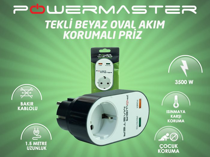 Powermaster PM-16620 Akım korumalı priz