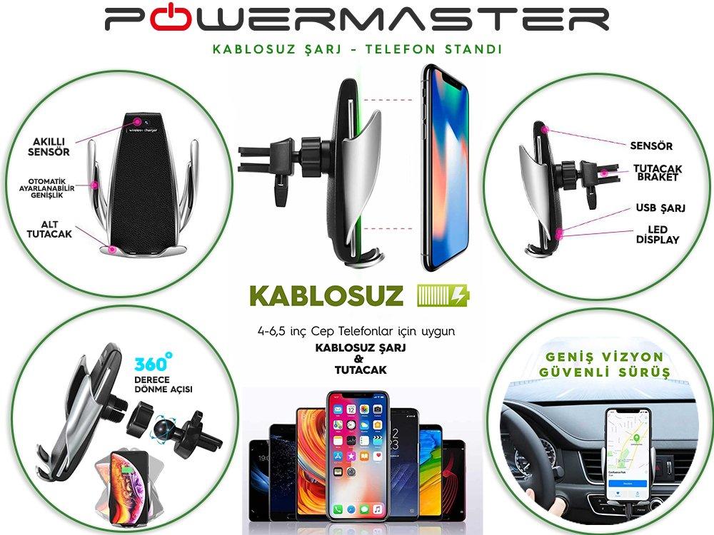 Powermaster Kablosuz Araç Şarj Tutacağı
