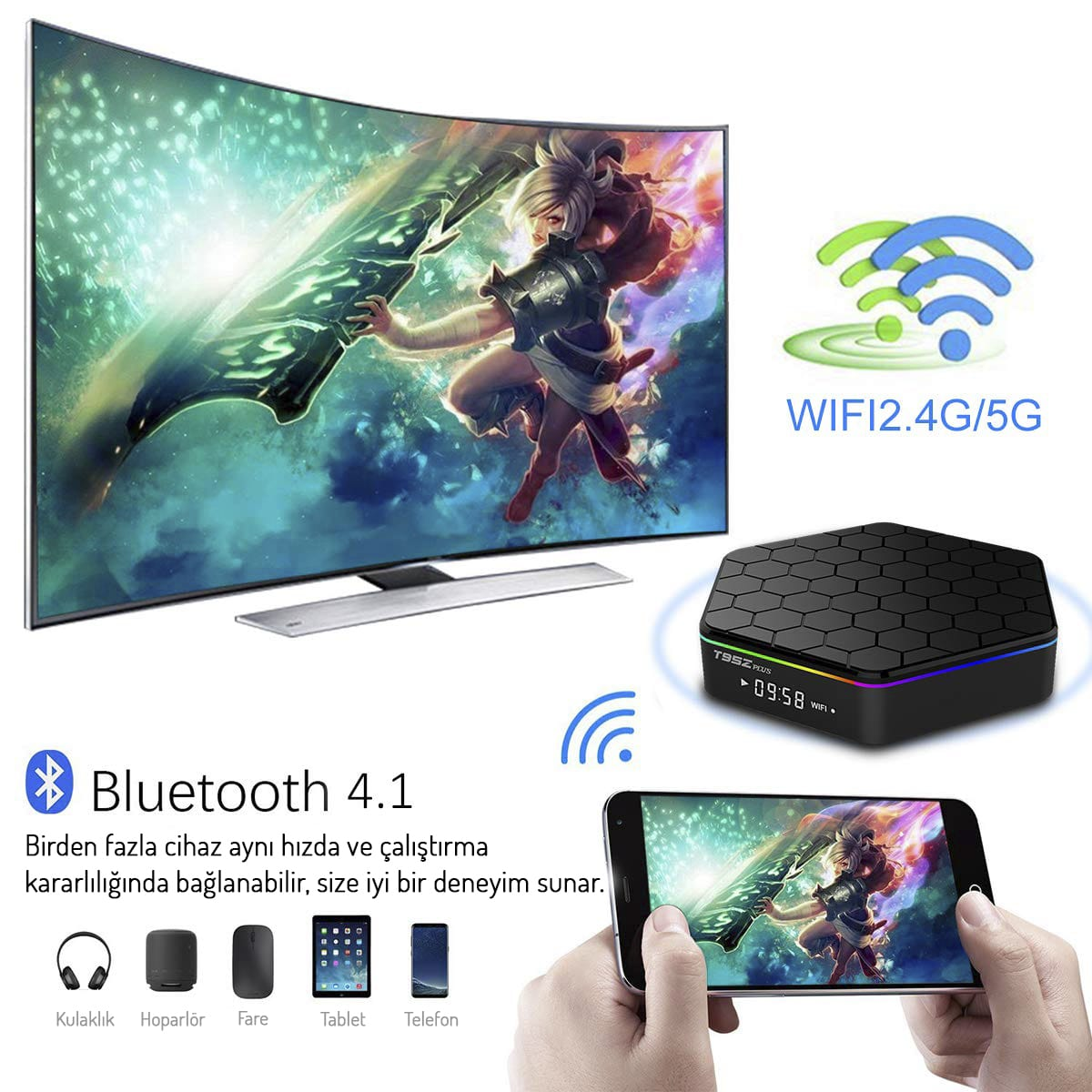 Magbox T95 ZPlus S912 2GB Ram 16GB Hafıza Dahili Wifi 4K Android Tv Box